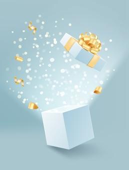 Ilustração de caixa de presente aberta com laço dourado e confete