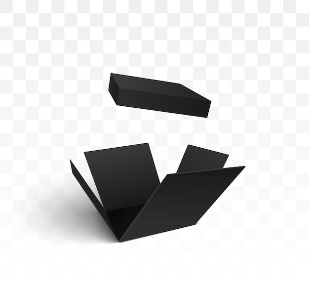 Ilustração de caixa de presente isolada preta aberta