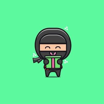 Ilustração de caixa de presente ninja preta fofa