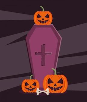 Ilustração de caixão de halloween