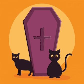 Ilustração de caixão e gatos de halloween
