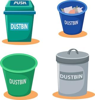 Ilustração de caixote do lixo