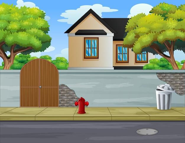 Ilustração de calçada em bairro suburbano