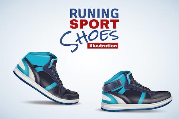 Ilustração de calçados esportivos em execução