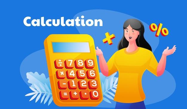 Ilustração de cálculo com mulher faz contas fazendo relatório financeiro