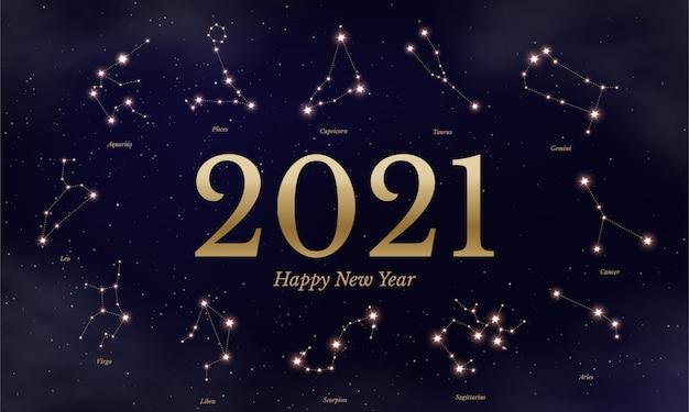 Ilustração de calendário do zodíaco de ano novo, símbolos astrológicos em fundo estrelado azul escuro, doze signos do horóscopo.