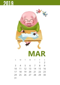 Ilustração de calendários de porco engraçado para março de 2019
