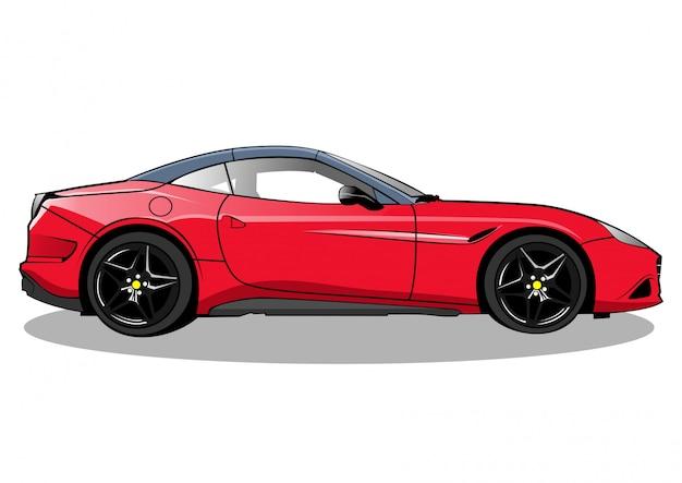 Ilustração de califórnia de carro de corrida vermelho