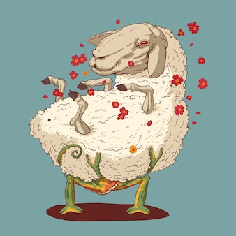 Ilustração de camaleão apaixonado por uma ovelha