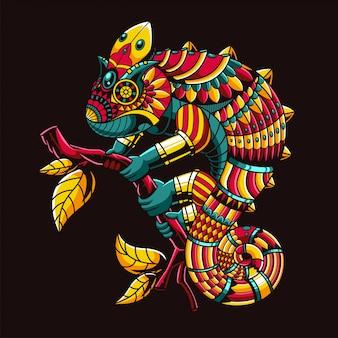 Ilustração de camaleão, ilustração colorida zentangle