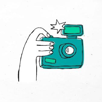 Ilustração de câmera desenhada à mão verde