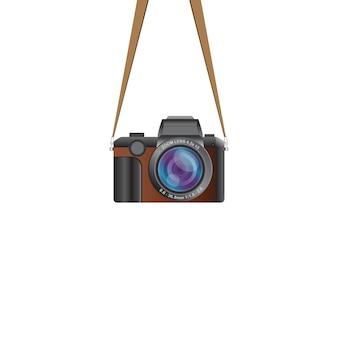 Ilustração de câmera vintage pendurada isolada no branco