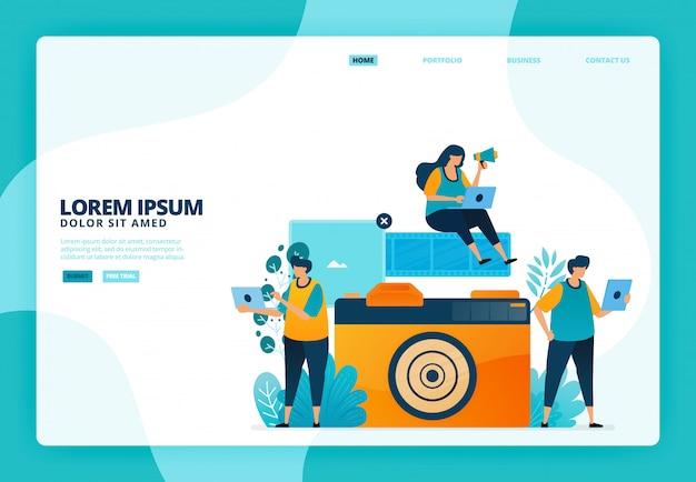 Ilustração de câmeras e filmes analógicos. para o site da página de destino