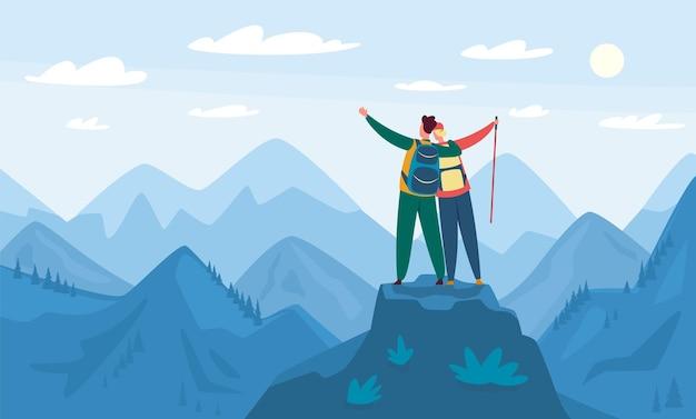 Ilustração de caminhada na montanha