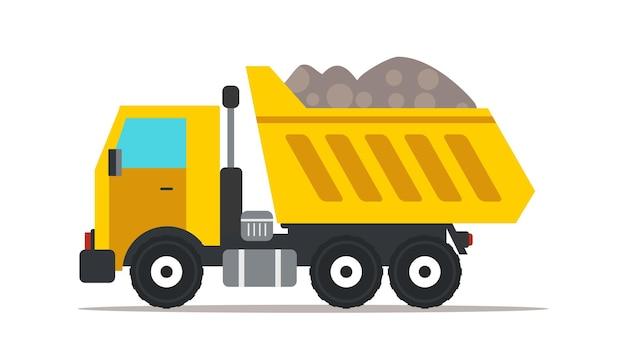 Ilustração de caminhão basculante, elemento de design isolado de maquinaria pesada profissional