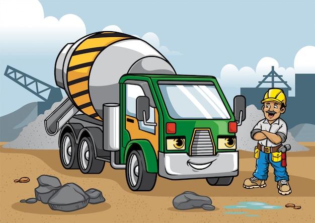 Ilustração de caminhão de cimento no canteiro de obras