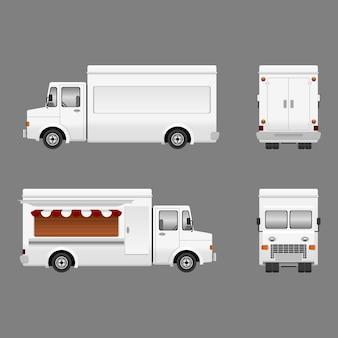 Ilustração de caminhão de comida em branco editável para branding mock-up