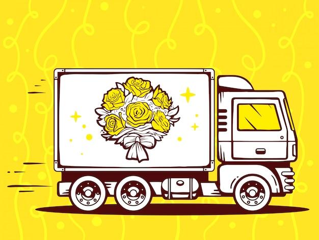 Ilustração de caminhão livre e rápido entregando buquê de flores para o cliente em fundo amarelo.