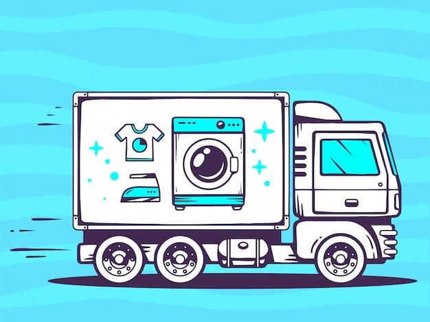 Ilustração de caminhão livre e rápido entregando máquina de lavar roupa para o cliente sobre fundo azul.