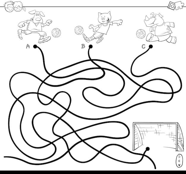Ilustração, de, caminhos, ou, labirinto, enigma, atividade, jogo, com, futebol, animais