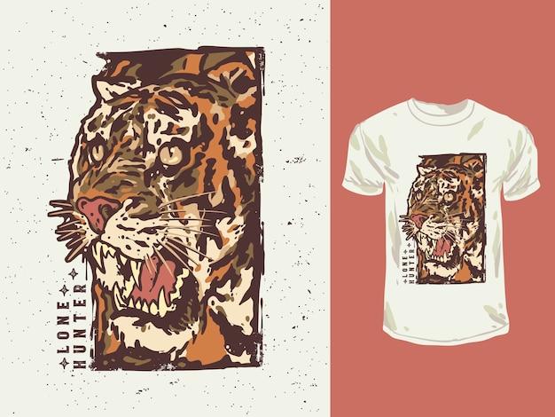 Ilustração de camiseta desenhada à mão de tigre em estilo vintage