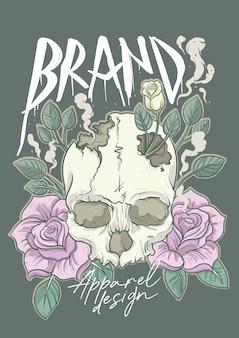 Ilustração de camiseta para marca de roupas com rosas e crânio clássico colorido pastel