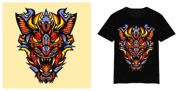 Ilustração de camiseta vetorial de monstro com cabeça de dragão vermelho
