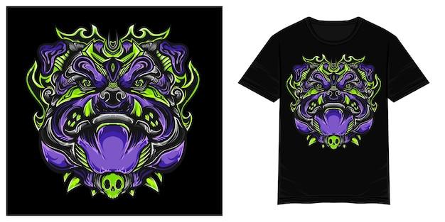 Ilustração de camiseta vetorial de monstro de cachorro da floresta