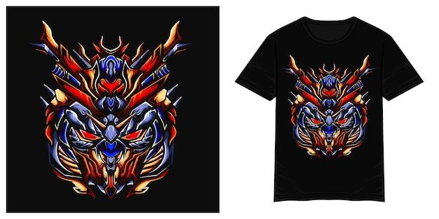 Ilustração de camiseta vetorial de monstro mecha com cabeça de gundama vermelha