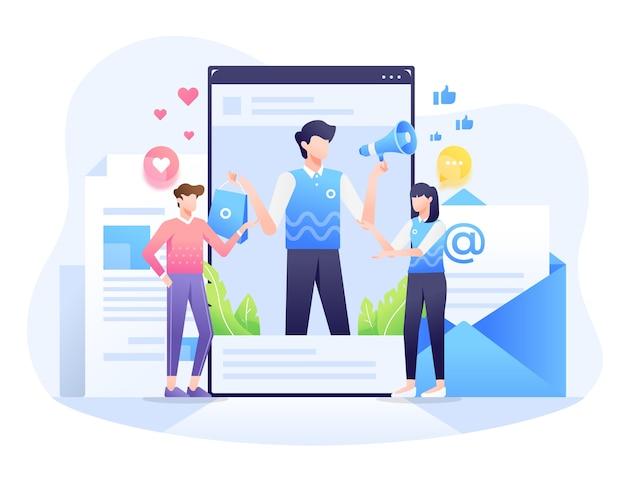 Ilustração de campanha de marketing, campanha para evento particular nas redes sociais.