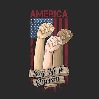 Ilustração de campanha de racismo na américa