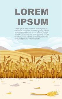 Ilustração de campo de trigo com paisagem rural e bom dia de sol no design de banner vertical de fundo com lugar para texto