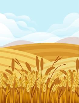 Ilustração de campo de trigo com paisagem rural e bom dia de sol no design do banner vertical de fundo