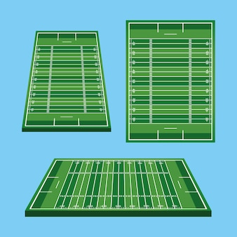 Ilustração de campos de futebol americano com ícones de jardas