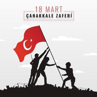 Ilustração de canakkale desenhada à mão com soldados e bandeira