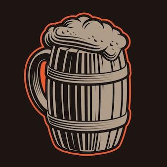 Ilustração de canecas de cerveja em um fundo escuro.