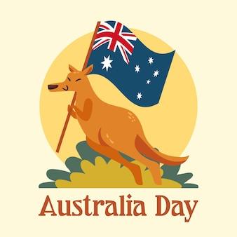 Ilustração de canguru do dia da austrália plana