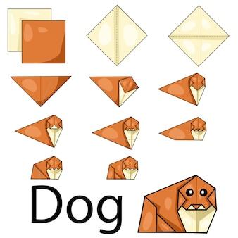 Ilustração, de, cão, origami