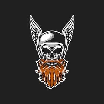 Ilustração de capacete de barba crânio