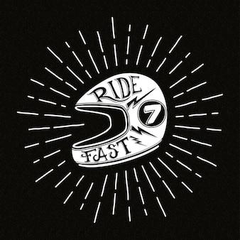 Ilustração de capacete de motociclista retrô com letras de mão,