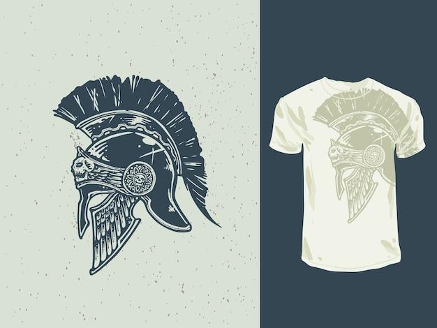Ilustração de capacete espartano desenhado à mão vintage