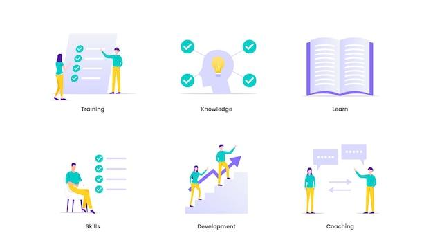 Ilustração de capacitação. treinamento, aprendizagem, conhecimento, habilidades, coaching, suporte e desenvolvimento