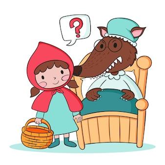 Ilustração de capuz vermelho desenhado à mão