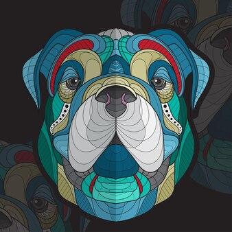 Ilustração de cara de cachorro grande zentangle estilizado de coloração de animal