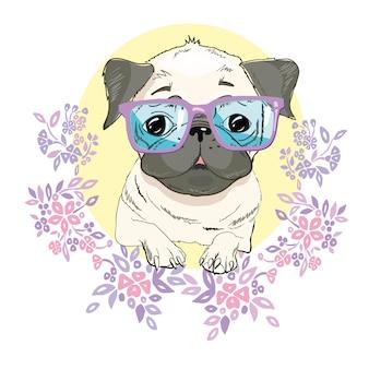 Ilustração de cara de cachorro pug isolada no branco