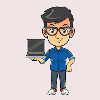 Ilustração de cara de vendas nerd
