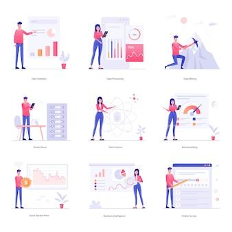 Ilustração de caracteres da análise de dados