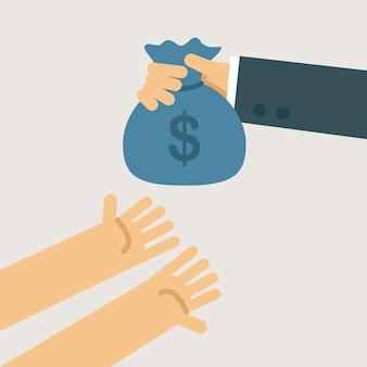 Ilustração de caridade de dinheiro.