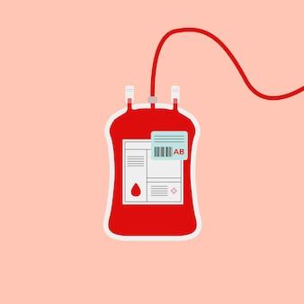 Ilustração de caridade de saúde em vetor vermelho tipo ab de bolsa de sangue