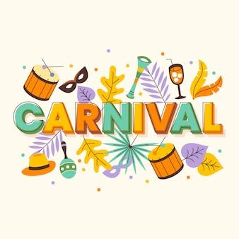 Ilustração de carnaval colorido plana